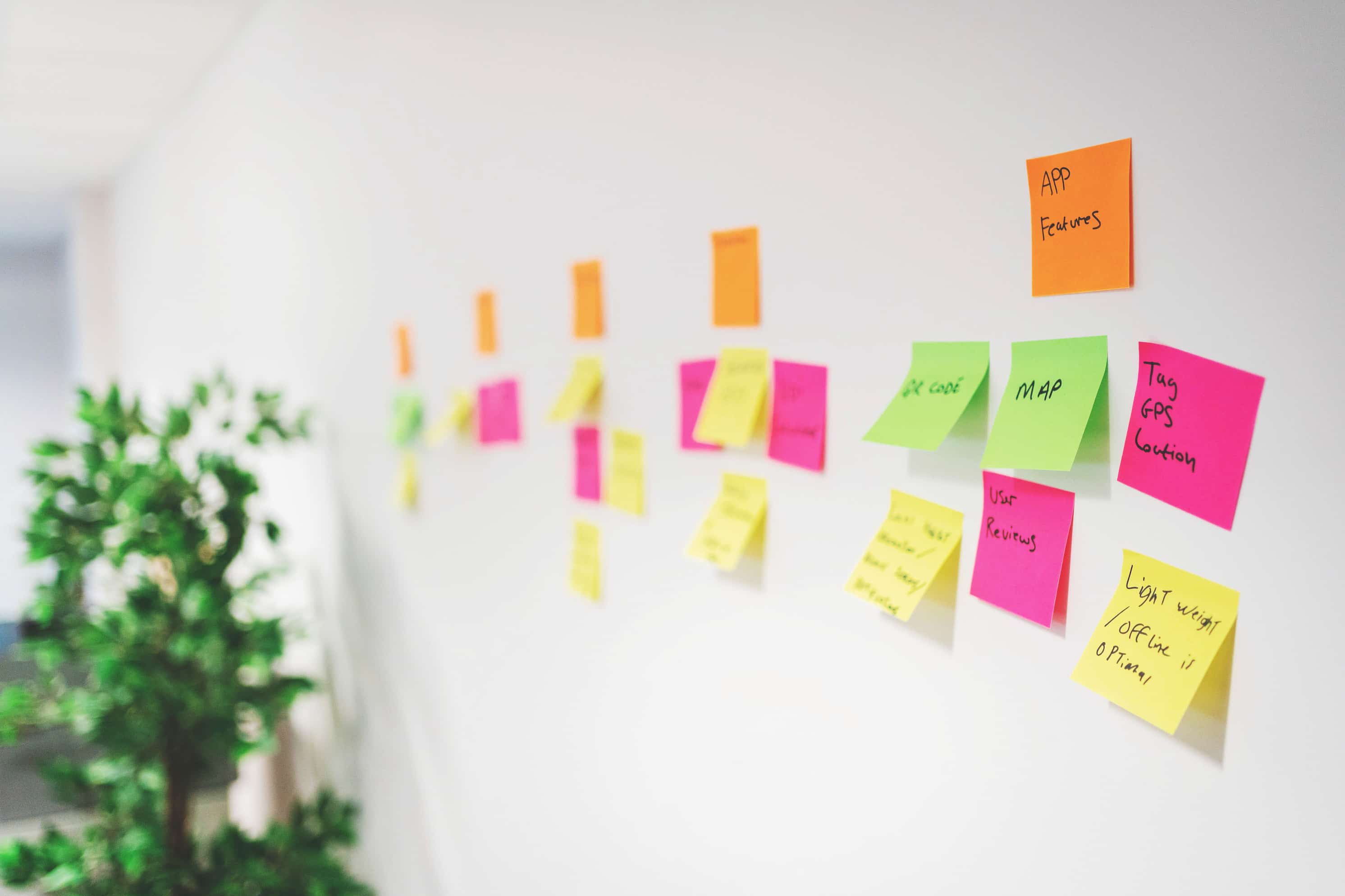Post its on a wall to represent website development by hiyield.